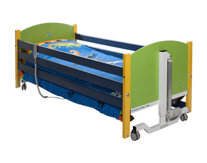 The paediatric profiling bed is a bright and attractive bed designed